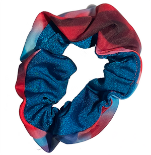 Scrunchie - Blue and Rainbow Stripes