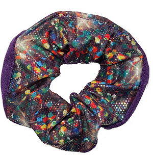 Scrunchie - Rainbow Dots Pattern and Purple