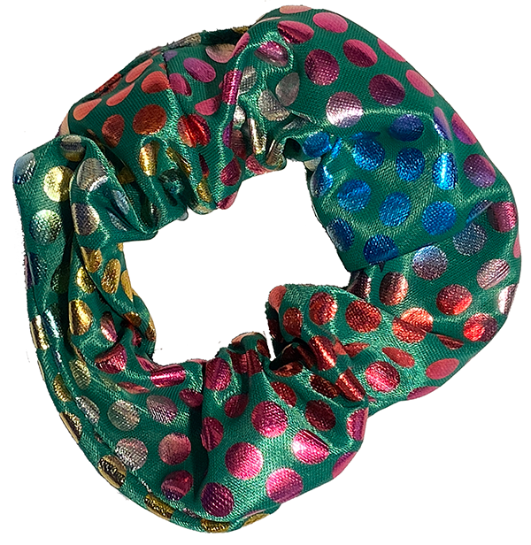 Scrunchie - Green Rainbow Dots