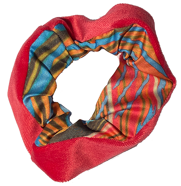 Scrunchie - Pink Orange and Blue Stripes