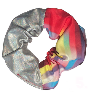 Scrunchie -  Silver and Rainbow Stripes