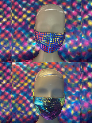FACE MASK - REVERSIBLE - Blue Disco - Galaxy