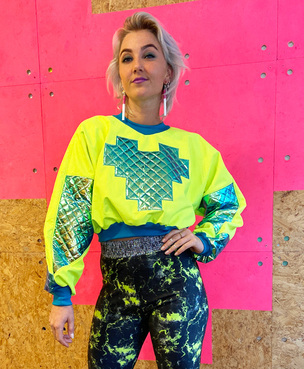 Cropped Sweater - Neon Yellow with Green Puff