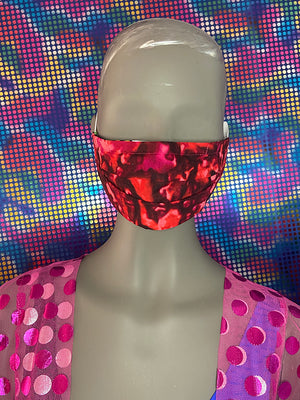 FACE MASK - REVERSIBLE - Green Disco - Red Multi Color