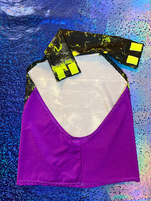 Turtleneck Top - Thunder Black & Yellow and Purple