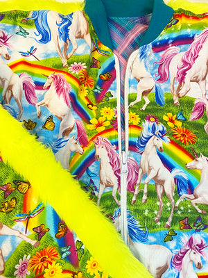 Bomberjacket - Reversible - Blue Neon Pink - Unicorn Rainbow
