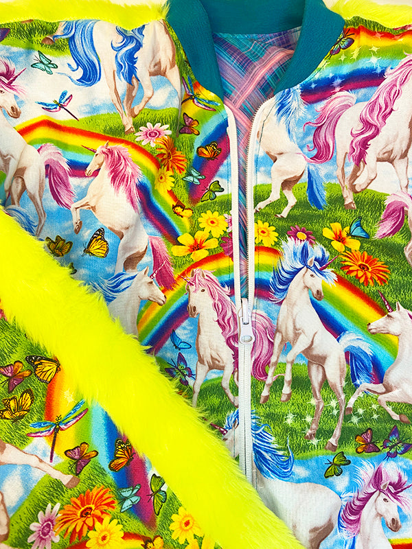 Bomberjacket - Reversible - Unicorn Rainbow   - Blue Neon Pink