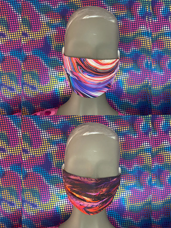 FACE MASK - REVERSIBLE - Swirl - Red Lines