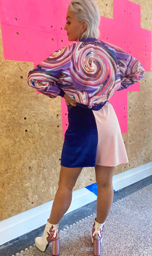 Bomberjacket - Reversible - Pink Swirl - Blue with Silver Heart