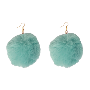 Mint green Fluffy colorful cute soft crazy handmade earring