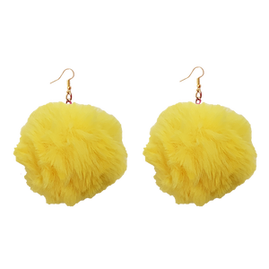 Yellow Fluffy colorful cute soft crazy handmade earring
