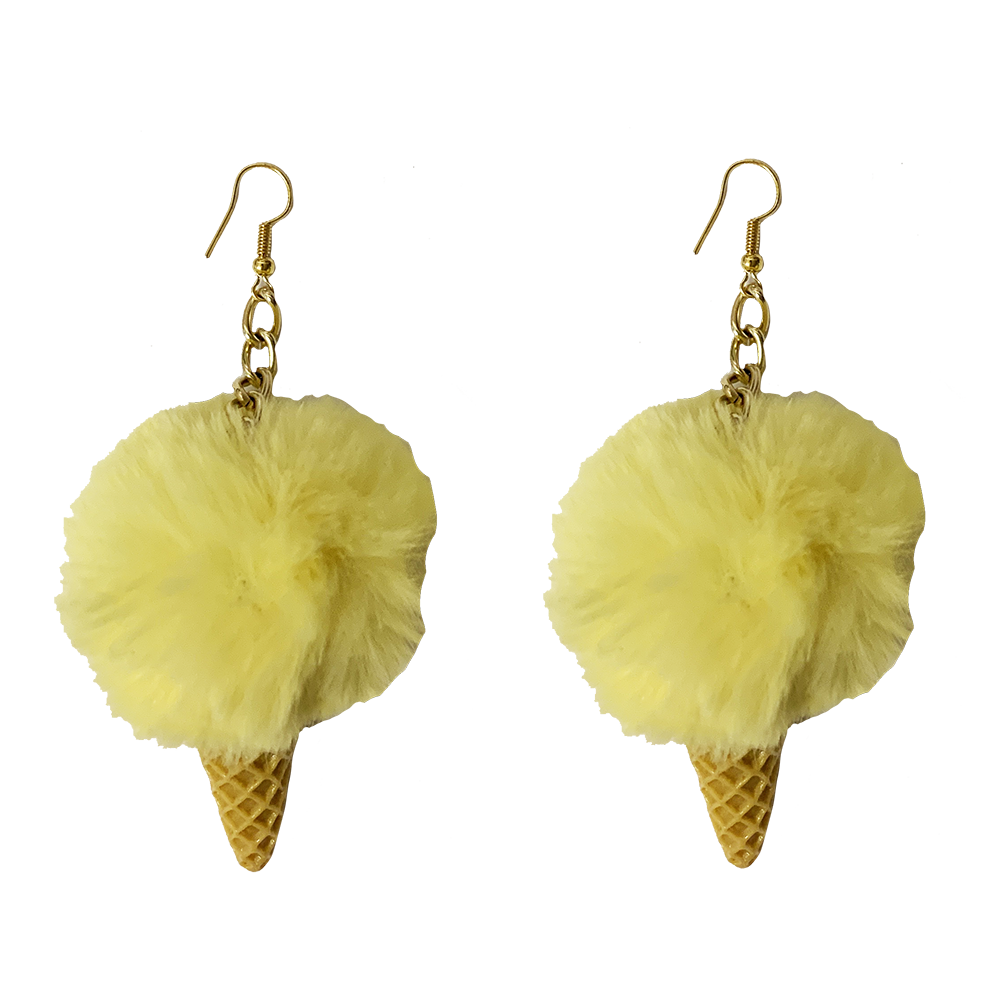 Earrings - Fluffy Ice-cream - Yellow