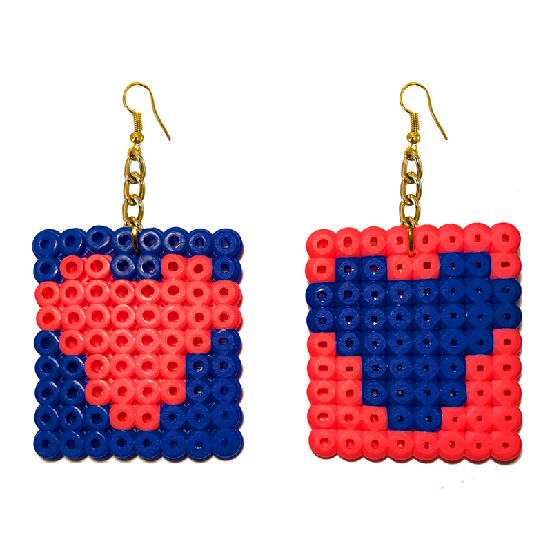 Earrings - Hearts - Dark Blue and Pink