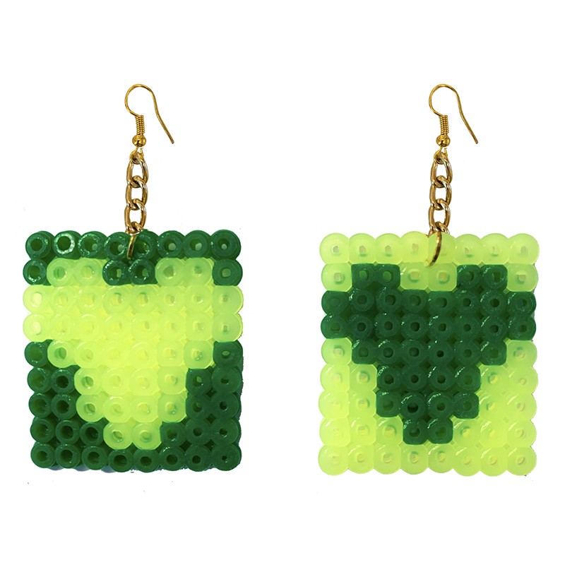 Earrings - Hearts - Yellow and Green