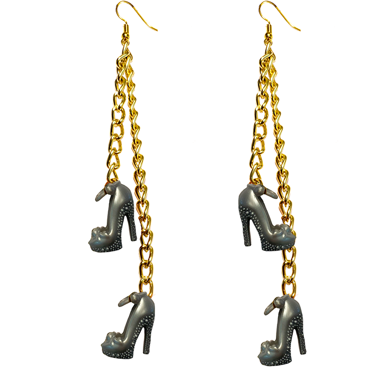 Earrings - Shoes - (Two) Silver High Heels