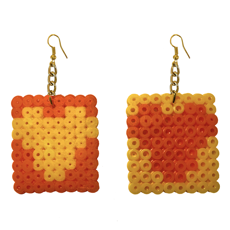 Earrings - Hearts - Yellow and Orange