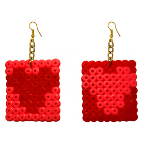 Earrings - Hearts - Red and Pink