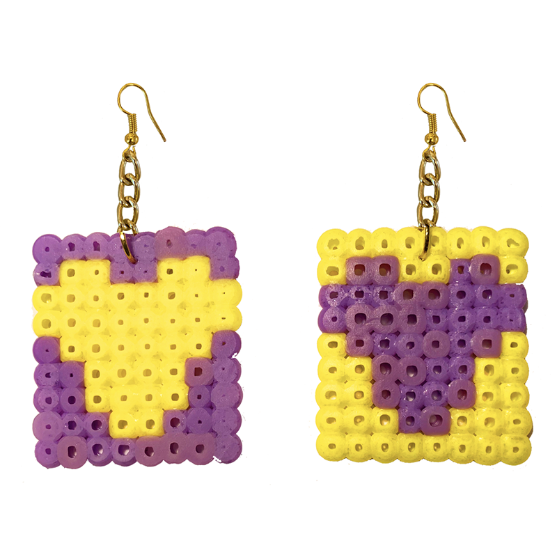 Earrings - Hearts - Purple and Yellow