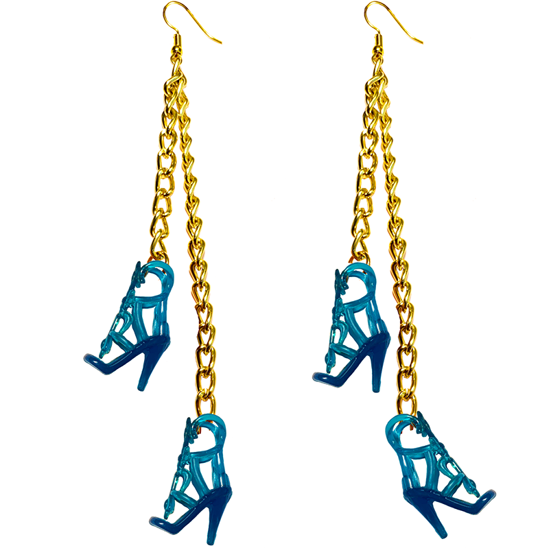 Earrings - Shoes - (Two) Blue High Heels