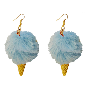 Earrings - Fluffy Ice-cream - Light Blue