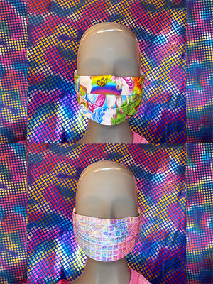 FACE MASK - REVERSIBLE - Unicorn - Shine Pink