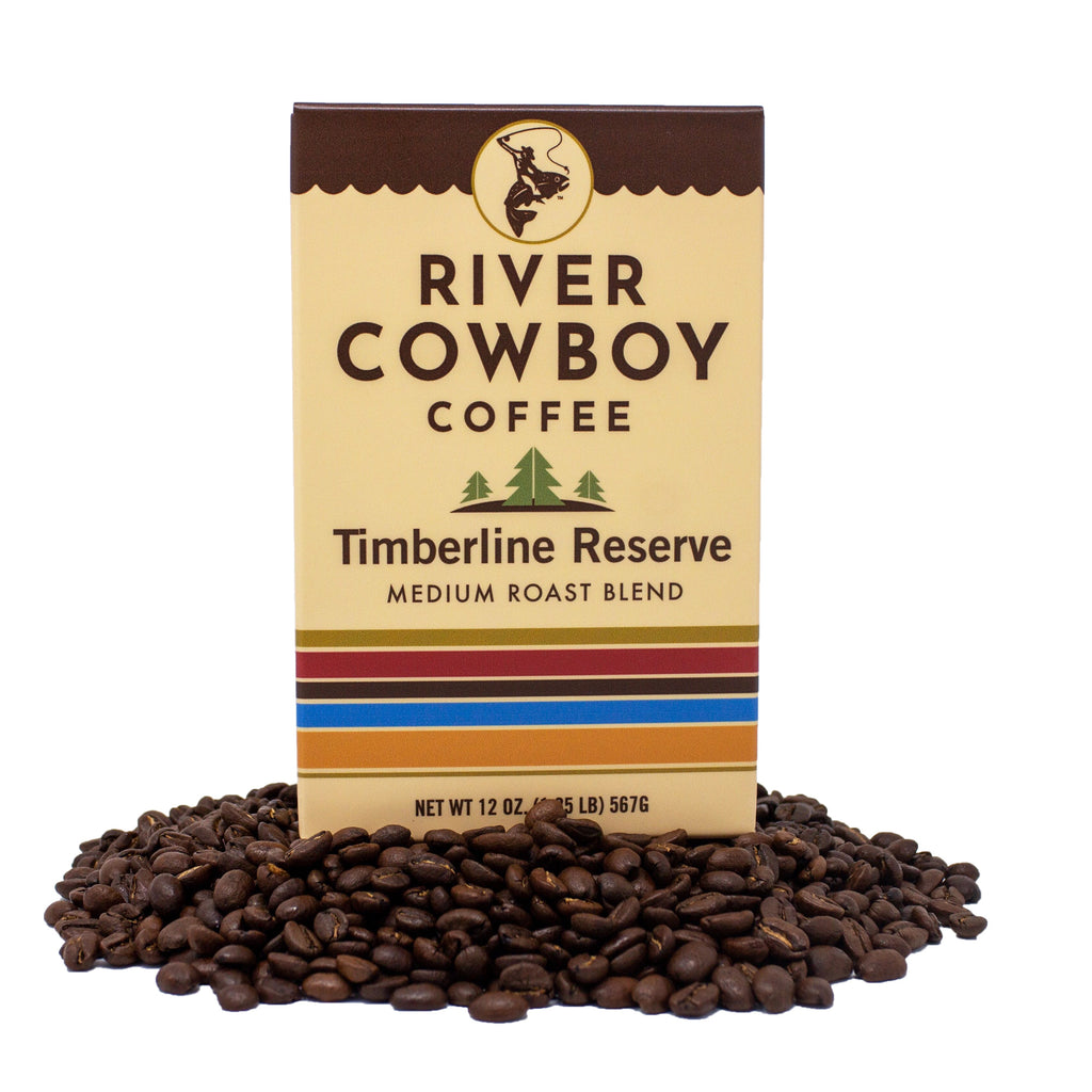 River Cowboy Coffee Timberline Reserve Light Roast Tan Box