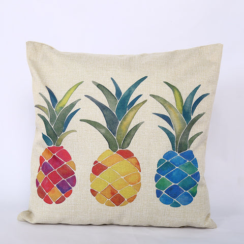 Home soft decoration office pineapple single car sofa by pillow case square imitation linen pillowcase car cushion wholesale