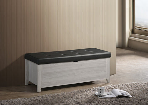 Blanket Box Ottoman Storage With Leather Upholstery In White Oak