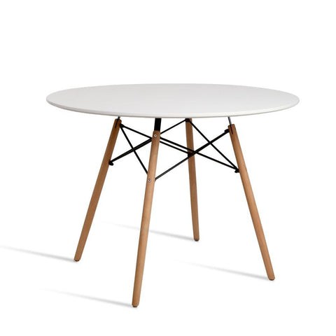 Artiss Round Beech Timber Dining Table - White