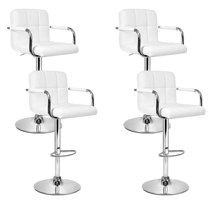 Artiss Set of 4 Bar Stools Gas lift Swivel - Steel and White