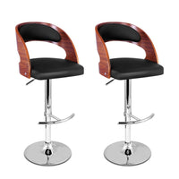 Artiss Set of 2 Wooden PU Leather Gas Lift Bar Stool - Black and Wood