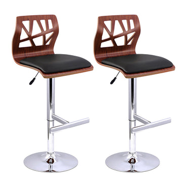 Artiss Set of 2 Wooden Gas Lift Bar Stools - Black and Wood