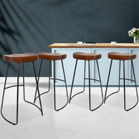 Artiss Set of 4 Elm Wood Backless Bar Stools 65cm - Black and Dark Natural