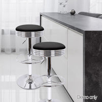 Artiss Set of 4 PU Leather Backless Bar Stools - Black and Chrome