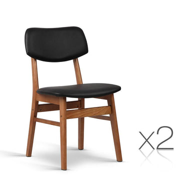 Artiss Set of 2 Wood & PVC Dining Chairs - Black