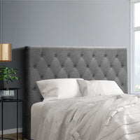 Double Size Bed Head Headboard Bedhead Fabric Frame Base CAPPI Grey