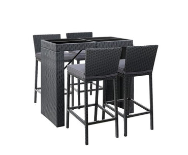 Gardeon Outdoor Bar Set Table Chairs Stools Rattan Patio Furniture 4 Seaters