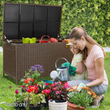 Gardeon 320L Outdoor Wicker Storage Box - Brown