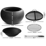 Grillz Outdoor Portable Lightweight Oval Fire Pit