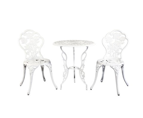 Gardeon Outdoor Furniture Chairs Table 3pc Aluminium Bistro White