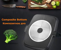 "Non-Stick 5 in 1 Fry Pan Divided Skillet 15"" Black"