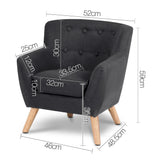 Keezi Kids Sofa Armchair Fabric Furniture Lorraine French Couch Children Black