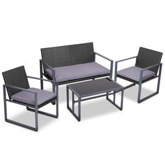 Gardeon 4PC Outdoor Furnitture Patio Table Chair Black