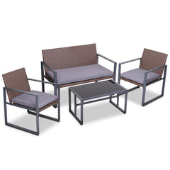 Gardeon 4PC Outdoor Furnitture Patio Table Chair Brown