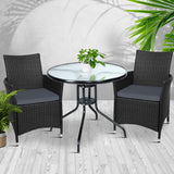 Gardeon Outdoor Furniture Dining Chair Table Bistro Set Wicker Patio Setting Tea Coffee Cafe Bar Set