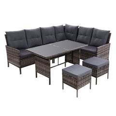 Outdoor Sofa Set Patio Furniture Lounge Setting Dining Chair Table Wicker Grey