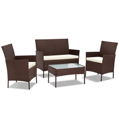 Gardeon 4-piece Rattan Outdoor Set - Brown