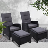 2PC Sun lounge Recliner Chair Wicker Lounger Sofa Day Bed Outdoor Chairs Patio Furniture Garden Cushion Ottoman Gardeon