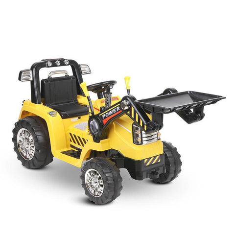 Kid's Electric Ride On Bulldozer Loader Digger - Yellow