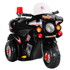 Kid's Ride on Police Patrol Motorbike - Black
